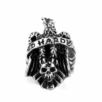 Three-dimensional carving letter eagle skull ring