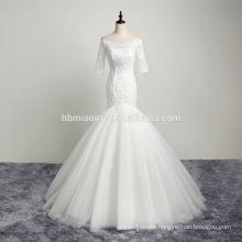 luxury Lace hand sewn beads bandage sleeve wedding dress guangzhou wholesale market
