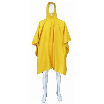Capa de chuva de poncho de PVC com capuz