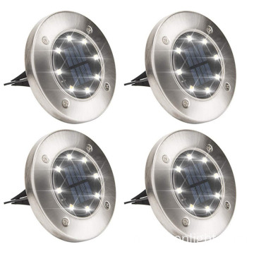 8LED Warm Outdoor Waterproof Landscape Solar Disk Light