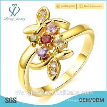 Qualidade de jóias de ouro banhado a ouro amarelo anéis de noivado de diamante