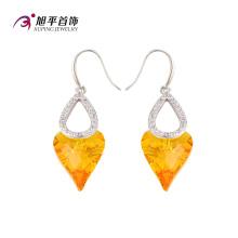 E-125 Xuping luxo duplo em forma de coração cz cristais de swarovski brinco em ródio -plated