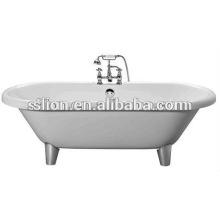 Klassische Acryl weiße freistehende Badewanne mit vier Beinen