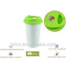 280cc Keramik Doppelwand weiß Kaffee-Thermograph Becher mit Silikondeckel und Thermograph