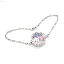 2018 Good quality new stainless steel bracelet, memory floating locket pendant bracelet for women