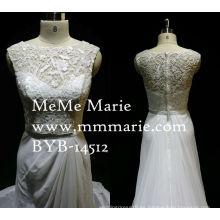Vestido de novia de Charmeuse Vestido de novia Grecian Elegante con Cinta Colgante Appliqued Lace Vestido de Novia con Organza de tren largo