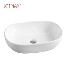 Lavatório oval para banheiro com tampo superior
