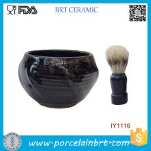 Cuenco de afeitar de cerámica masculino azul profundo al por mayor