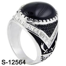 Новое мужское кольцо из серебра 925 пробы с черно-белым CZ (S-12564)
