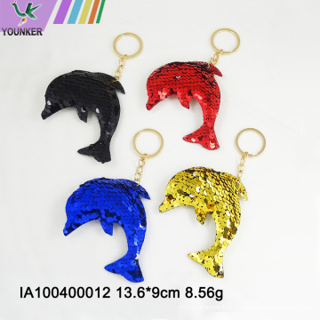 Sac porte-clés pailleté en forme de dauphin ornements suspendus