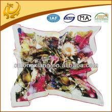 90X90cm Digital Printed Silk Satin Square Scarf