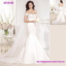 White Mermaid off-Shoulder Wedding Dress with Veil Bride Gowns