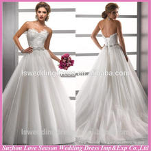 WD1201 Newest lace patterns top corset back layers tulle diamonds belt sweep train long cheap china made wedding dress
