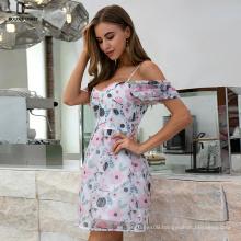 Weixin Shein Fashion Ladies Summer Sleeveless Floral Halter Women Casual Print Dresses