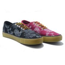 Leaf Pattern Canvas Casual Vulcanization Women Men Fation Shoes