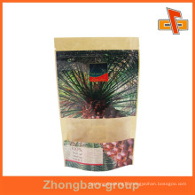 Zipper top laminated stand up kraft bag for Emirates Date with clear window