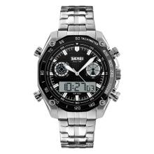 Skmei 1204 japan movt quartz watch stainless steel analog digital wrist watch men