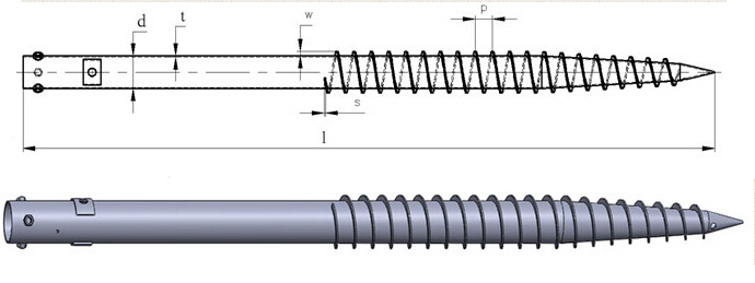 ground screw pile drawings
