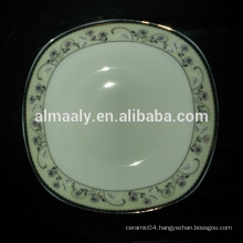 ceramic plate square shape with golden decal