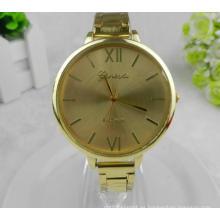 Yxl-415 nueva moda de cuarzo de acero inoxidable señoras reloj de pulsera de oro de la placa delgada vestido de las mujeres reloj