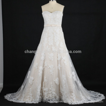 Fotos reales de los últimos 2016 A línea de vestidos de novia de encaje de fábrica de China applique vestido de novia