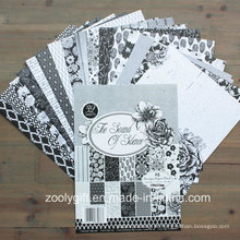 Fornecedor de papel branco preto Scrapbook A5 Design Paper Pack