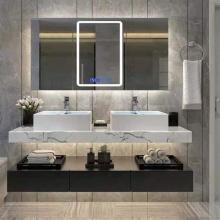 Meuble de salle de bain blanc en bois massif