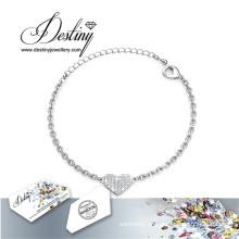 Pulseira de coração destino joias cristais Swarovski