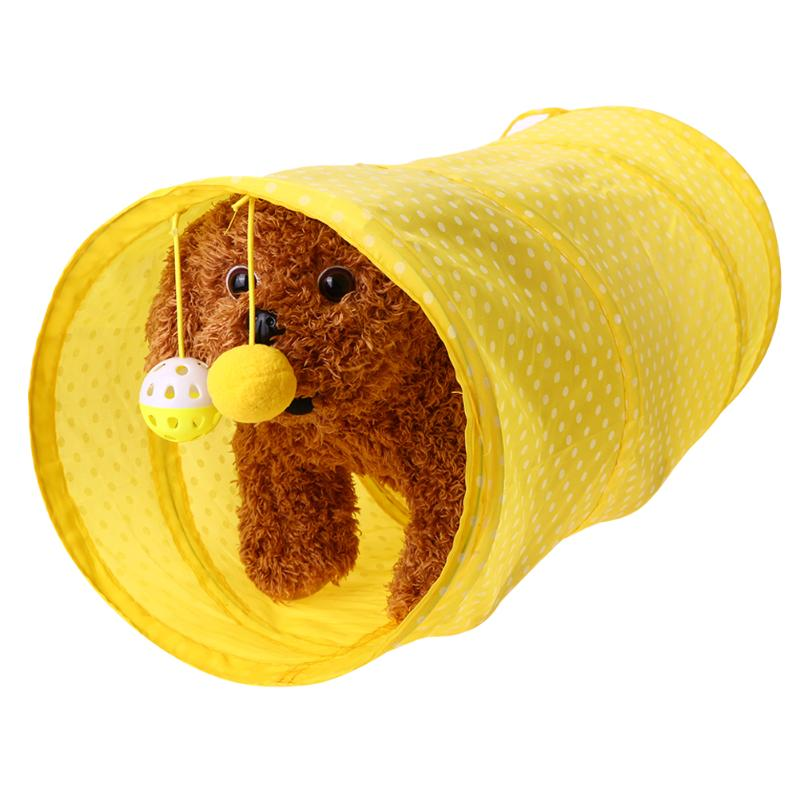 Funny Pet Cat Tunnel 2 Holes Cat Play Tubes Balls Collapsible Crinkle Kitten Dog Toys Puppy 2