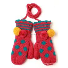 Guantes y guantes de Jacquard acrílico de punto calientes de la venta caliente que hacen punto