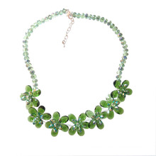 Luxury Green Multi Flower Crystal Statement Necklace for Party or Show