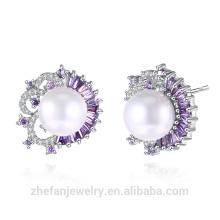 échantillon marché bijoux dernière conception de blanc zircon incrusté d'argent perle d'eau douce perle boucle d'oreille