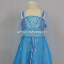 Elsa blue chiffon fabric snowflake mesh princess dress