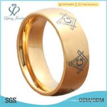 Half Moon Top Titanium Ring Gold IP Masonic Signet Brush Men's Wedding Band