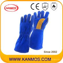 Cuero de vaca cuero dividido mano industrial guantes de trabajo de soldadura (11115)