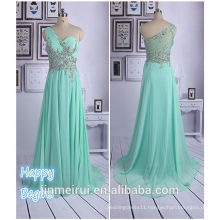 Chiffon Crystal Prom Dress Beaded Long Prom Gown Fashion Beaded Rhinestones Back See Through Mint Green Prom Dresses