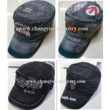 Diseño lavado jeans moda proveedor de sombrero gorra militar tapa plana