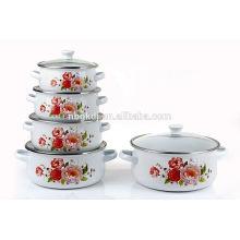 5Pcs porcelain enamel kitchenware cassrole with double handle