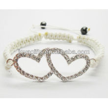 Liga de coração de prata dupla com pulseira de diamante shambala