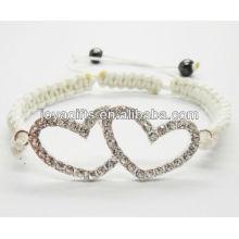 Серебряный двойной сердечный сплав с бриллиантом shambala браслет