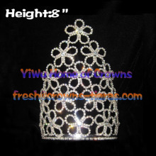 8inch Flower Pageant Crowns Made by Clear Crystal Rhinestones