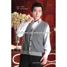 Colete de camisola de casaco de cashmere masculina de luxo