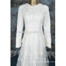 Long Sleeve A Line Beaded dubai muçulmano casamento vestido