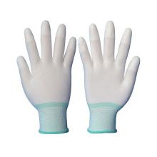 Luvas de malha de malha de nylon de 13 gauge revestidas com PU no dedo superior