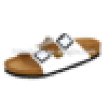 Женские летние сандалии Пляжные однотонные сандалии из пробки цвета плоские тапочки