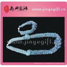 Shangdian Jewelry Sapphire Cyrstal Collier Perles Crochet