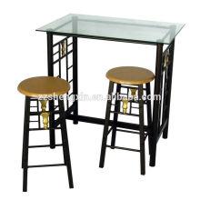 Mesa de vidro e cadeiras conjunto de barras