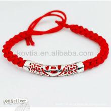 Charm bracelete de corda trançado vermelho com prata 925