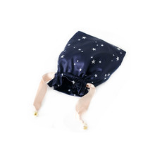 full star logo printing dark blue satin bag bag