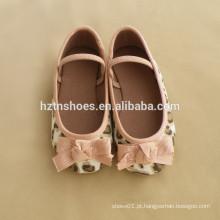 Grande arco balé leopardo lona material meninas sapato banda escola sapato flats